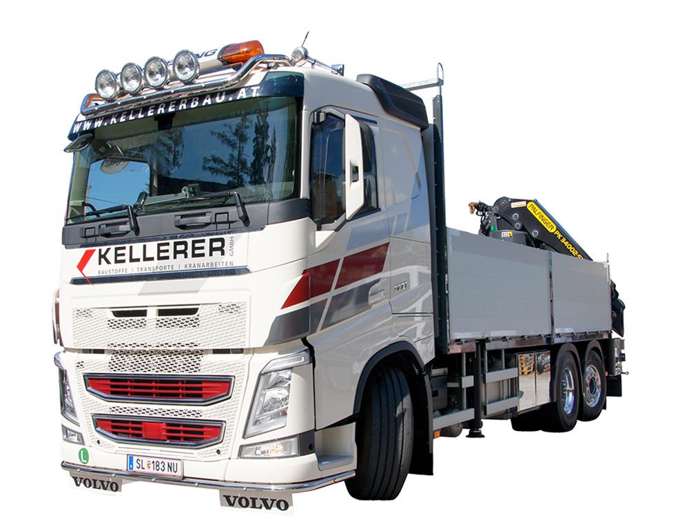 Kellerer LKW mit Heckkran Transporte Baustoffe Containertransporte
