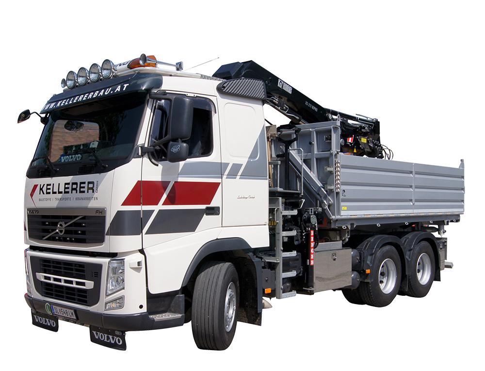 LKW mit Kran Baustellenbelieferung - Kellerer Anthering