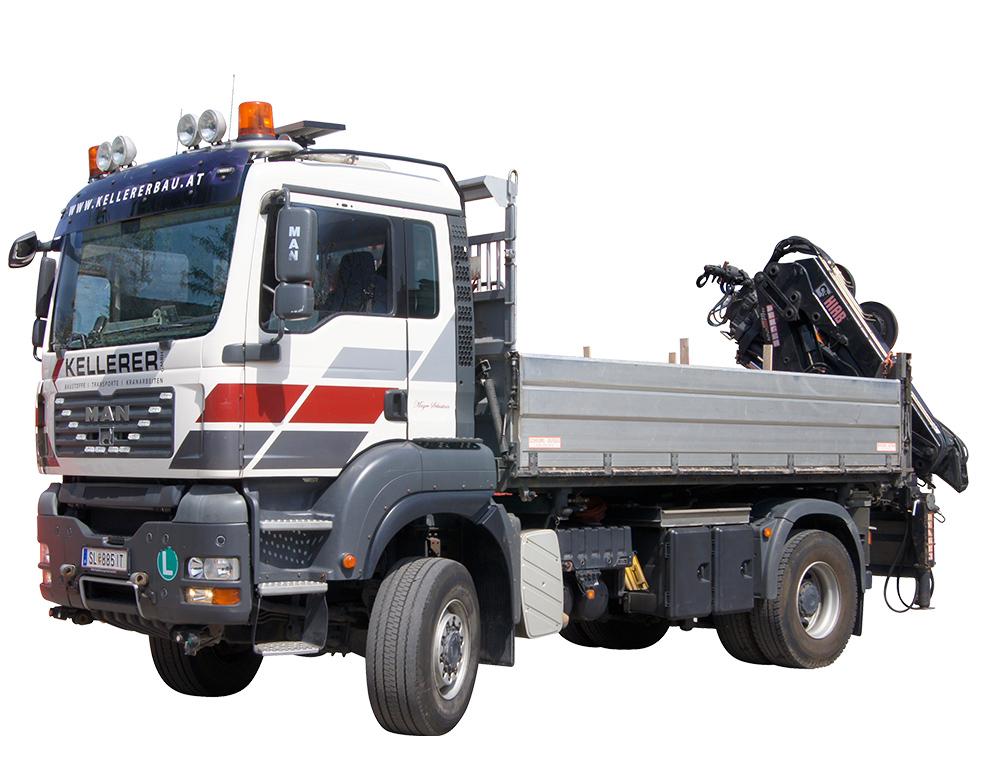 LKW mit Kran Kellerer Transporte Containertransporte Baustoffhandel